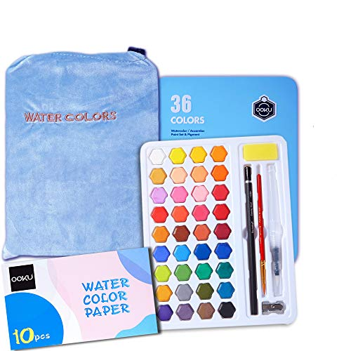 OOKU Watercolor Paint Set, 36 Water Colors Pigment Watercolor Set in Metal Box with 1 Water Brush Pen, 1 Pencil, Pouch | Dry Fast Watercolor kit for Artists Students Kids & Adults - Blue