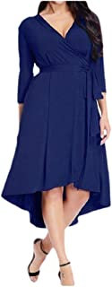 neveraway Women's Fashion Solid Color V-Neck Below The Knee Oversized Dress