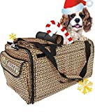Pet Carrier with Wheels Soft Sided Portable Bag, Click-Out Handle, Breathable Rolling Pet Carrier, Removable Wheels Pet Travel Carrier for Dogs, Cats up to 22 lbs (Brown no Wheels, Large)