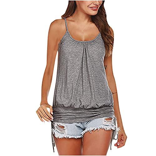 Tops de verano para mujer, camisetas casuales para mujer, con cinta sólida sin mangas, cuello redondo, suelta, para 7 a 10 días