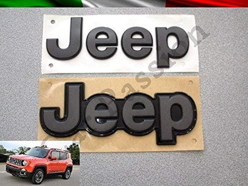 Coppia Scritta Stemma Logo Jeep Renegade Anteriore Posteriore Originale Nero Opaco