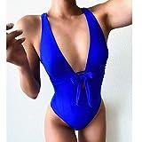 Vobery Traje de baño de una Pieza para Mujer Traje de baño de Cintura Alta con Cuello en V Profundo Traje de baño de Corte Alto con Control Retro (Azul, S)