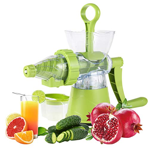 Manual Juicer Multi Functional Juicer Ice Cream Dessert Maker Single Auger Juicer for All Fruit Vegetable And Wheatgrass with Cup Home Appliances (Green)