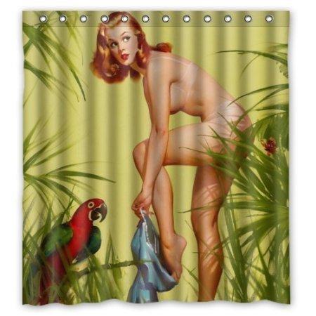 BBFhome Hem Gewichte Duschvorhang 180 x 180 cm Sexy Naked Pretty Girl Wearing - Vintage Retro Pin Up Girls Badezimmer-Körper-Kunst-Leinwand-Malerei-Art-wasserdichte Polyester-Gewebe 12 Haken
