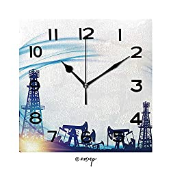 SUPFENG Print Square Wall Clock, 8 Inch Oil Field with Derricks Over Blue Sky Background Quiet Desk Clock for Home,Office,School