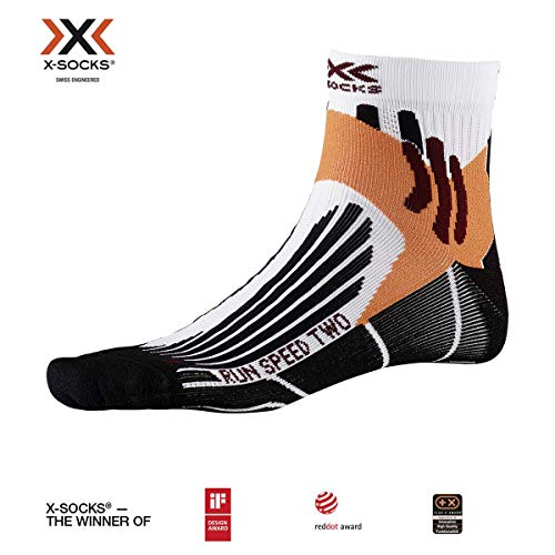 X-Socks Run Speed Two Socks, Unisex – Adulto, Arctic White/Opal Black, 42-44