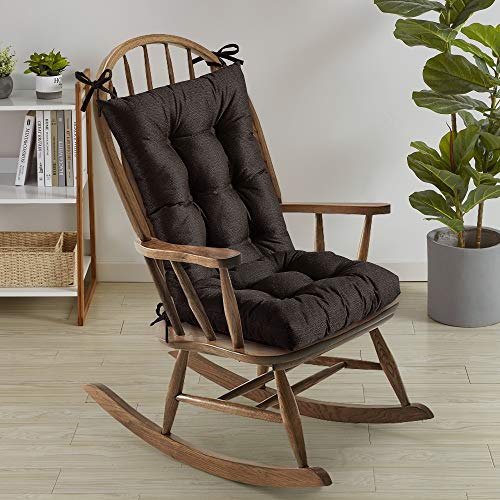 Sweet Home Collection Rocking Chair Cushion Premium Tufted Pads Non Skid Slip Backed Set of Upper and Lower with Ties 21quot X 17quot/17quot X 17quot Brown