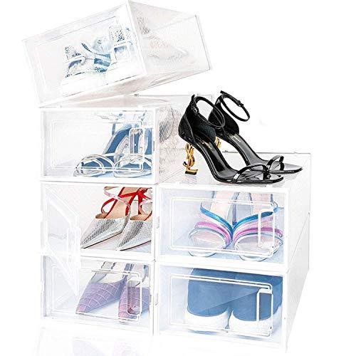 amzdeal Cajas de Zapatos Plásticas 6 Pcs - Organizador de Zapatos Transparente, Apilable y Impermeable, Caja de Almacenamiento Plegable, Ahorra Espacio, Zapateros para Hombres y Mujeres 33×23×14cm