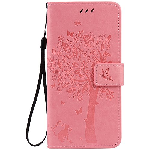 iPhone 8 Plus Case,iPhone 7 Plus Case,Wallet Case,PU Leather Case Floral Tree Cat Embossed Purse Kickstand Flip Cover Card Holders Hand Strap for iPhone 7 Plus/iPhone 8 Plus [5.5 Inch] Pink