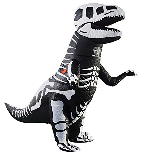 Adult Giant Skeleton T-Rex Dinosaur Inflatable Costume Blow up Dino Fossil Costume Suit Fancy Dress (Adult Skeleton T-rex)