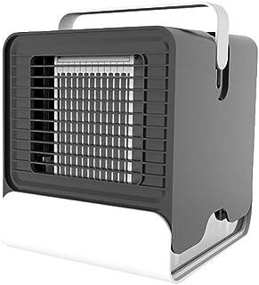 エアコン- ミニクーラー低温、USBエアーフレッシュファン、無騒音エアコン、夜間照明、卓上ファン、一晩中スリープ (Color : Black, Size : 5.9x6.7inch)