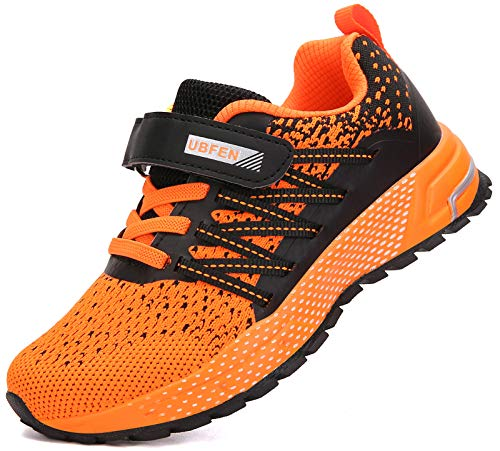 KUBUA Running Shoes Kids Sneakers for Boys Girls Shoes Lightweight Breathable Sport Athletic Orange