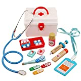 N\A Children's Doctor Toy Simulation Medicine Chest Set Woode Simulation Stethoscope, Medical Carrycase Doctors Role Play Juguetes para niños Niño y niñas