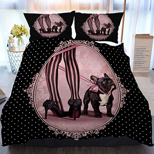 BEIVIVI Black 3 Piece Duvet Cover Set, Home Comforter Set,Black French Bulldog,Soft Bedding Duvet Cover 3 Piece Set for Any Bed Room Or Guest Room,Gal King Size