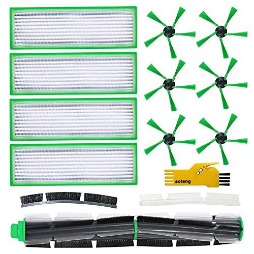 Repuestos para accesorios de aspiradora robot Vorwerk Kobold VR200 VR300 - 4 filtros de alergia Hepafilter y 6 cepillos laterales y 1 cepillo principal