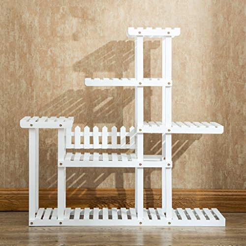 Dongyd Flower Racks Solid Wood Multiple Layers Shelf Landing Plant Bonsai Simple Balcony Indoor And Outdoor Living Room White