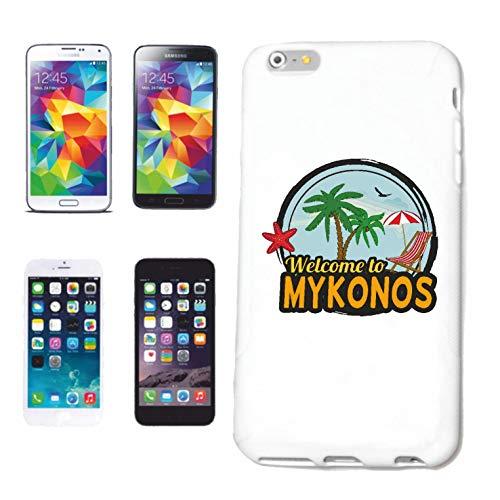 Reifen-Markt Carcasa para iPhone 4 / 4S, diseño con texto 'Welcome to Mykonos'