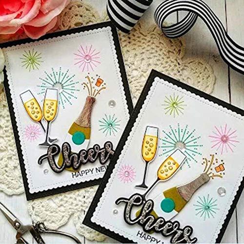 Benoon Troqueles de corte de metal en relieve, plantillas de corte, para copas de vidrio, botellas de vino, troqueles, sellos de bricolaje, álbumes de recortes, decoración de tarjetas de papel 2725S