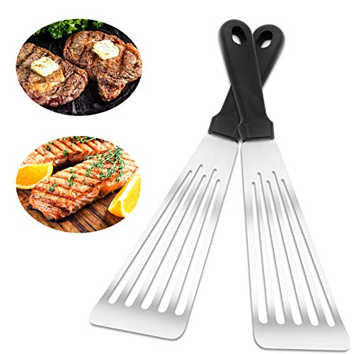 Fish Spatula 2 PCS Spatula for Cooking Flexible Stainless Steel Spatula with Nonslip Plastic Spatula Handle Heat Resistant Spatulas for Cooking Tuna Fillets Eggs Frying and Grilling 124''x33''