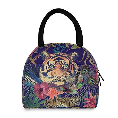 F17 - Bolsa de almuerzo con diseño de hojas tropicales de palma de pájaro, diseño de tigre y flores de tigre
