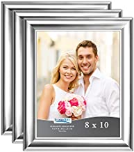Icona Bay 8x10 Picture Frame (3 Pack, Silver), Silver Photo Frame 8 x 10, Wall Mount or Table Top, Elegante Collection