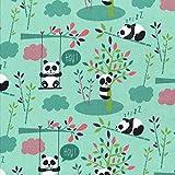 Textiles français Baumwollstoff | Die kuscheligen Pandas -