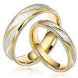 Daesar Joyería Ancho 6mm Acero Inoxidable Anillo Ring Plata Oro Amor Love Pareja Pedida Compromiso Alianzas Boda para...