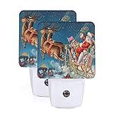 Set of 2 Led Night Lights, Santa Sleigh Flying Reindeer Snowflake Christmas Eve Auto Dusk-to-Dawn Sensor Night Lamp Plug-in Home Decorative for Adult
