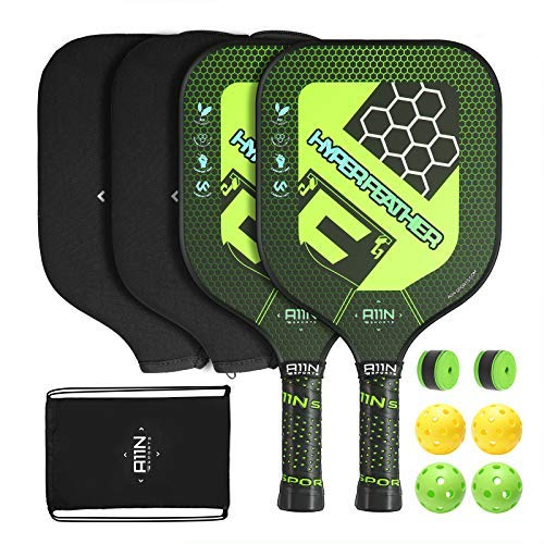 A11N HyperFeather Pickleball Paddles Set of 2 - USAPA Approved   8OZ, Graphite Face & Polymer Core, Cushion Grip   2 Indoor & 2 Outdoor Balls, 2 Covers, Green