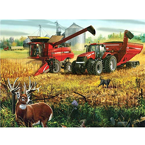 Diamond Painting 5D DIY Full Drill Kit Large Size Deers Tractor Scenery Crystal Rhinestone Embroidery Pictures Cross Stitch Craft Mosaic for Home Canvas Wall Deco Square Drill,30X40cm