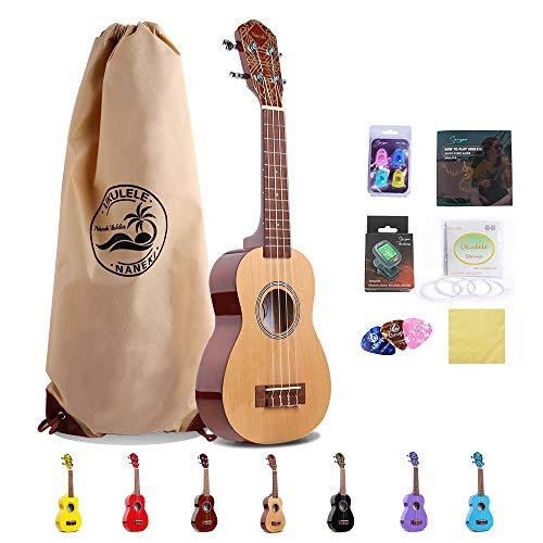 Soprano Ukulele 21 inch Mahogany Rainbow Uke,Mini Kids Guitar Hawaiian ukelele Instrument Kit ukalalee for Beginner Adults Kids Starter Ukeleles Kit(Natural)