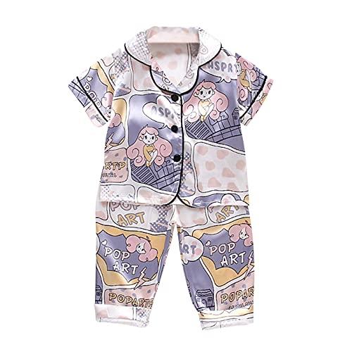 Upxiang - Pijama de manga corta para bebé y niño, de verano, con estampado de tops + pantalones cortos de dos piezas, para dormir y dormir, para niños y niñas, ropa de 1 a 5 años 01-purple 3 años