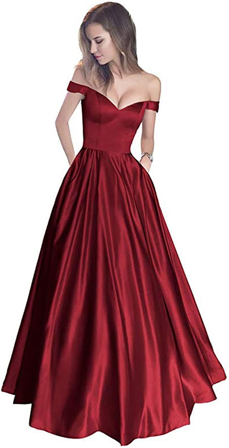 ANFF Women's Off The Shoulder Satin Prom Dresses with Belt
