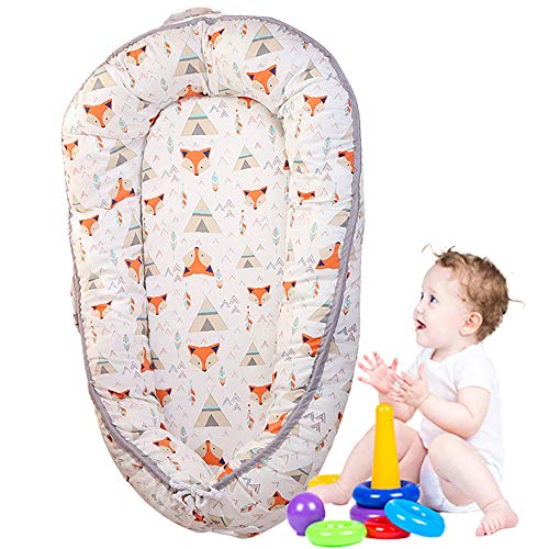Learn More About Brandream Baby Bassinet for Bed, Woodland Fox Newborn Baby Lounger, Breathable & Hy...