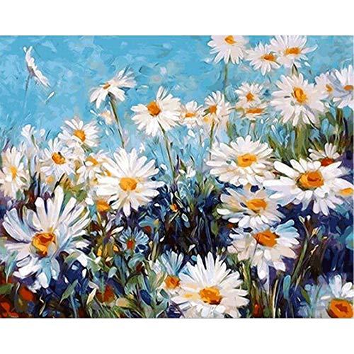 mlpnko Wilde weiße Gänseblümchenblume DIY Digitale Malerei Kunst Leinwand Kinder Geschenk Home Decoration 40X50cm Rahmenlos