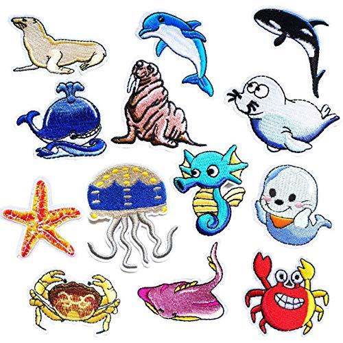 Coser O Planchar En Los Parches Apliques Para Ropa Camiseta Jeans Sombrero Pantalon Bolsas, 13pcs vida marina del delfín
