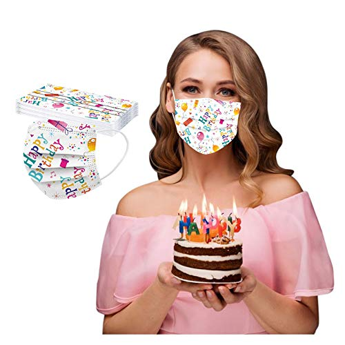 CawBing DisposableFaceMasks Birthday Gifts for Her Him 10PCS Happy Birthday Printed Decorations Balaclava 3 ply Comfort Breathable FaceCoverings with Elastic Earloop Protection Bandana