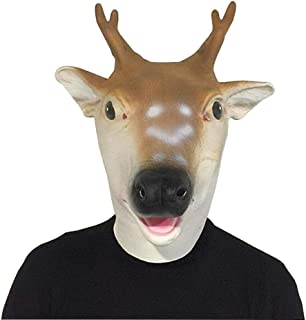 HESANYU AU Deer Head Headdress mask Performance Props Halloween Costume Party ( Color : Brown , Size : One Size )
