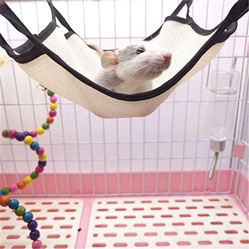 LiChaoWen Hamaca Colgante de hámster Mascota de Verano Hamaca Hamster Hamaca Transpirable Malla durmiendo Nido (Color : Beige, Size : 25x25cm)