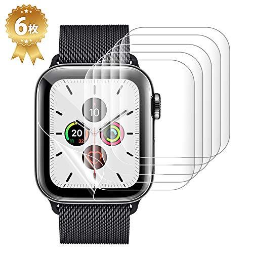 アップルウォッチ用 保護フィルム Apple Watch Series 5/4/3/2/1 38mm~40mm 99%高透過率 指紋防止 衝撃吸収 気泡防止 ラウンドエッジ加工