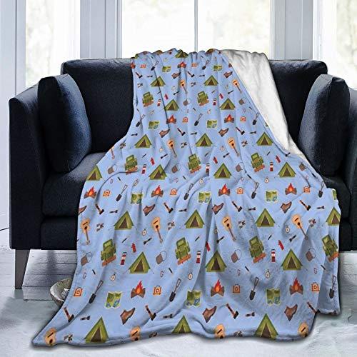 TARTINY Camping Icons wie Zelt Gitarre Lagerfeuer und Stiefel Illustration für Kinder Queen (200x200cm) Weiche, warme, Flauschige, leichte Flanell Decke für Bett oder Sofa