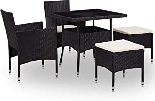 vidaXL 5 Piece Outdoor Dining Set Glass Tabletop 2 Chairs 2 Stools with Cushions for Outdoor Large Garden Patio Furniture ...