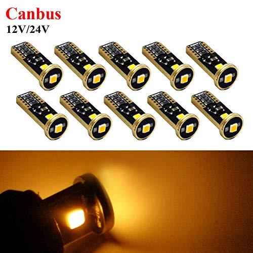 Ruiandsion T10 194 168 Ampoules LED Canbus sans erreur et non polarité Super lumineuses 12-24 V pour intérieur de voiture Carte dôme de courtoisie Porte d'immatriculation Ambre Lot de 10