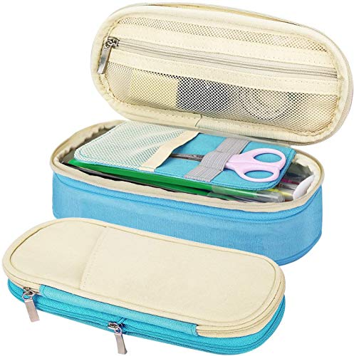 MoKo Caja Estuche de Lápices, Bolsa Organizador de Accesorios Escritorio de Ordenado Portalápices Almacenamiento Accesorio Titular Bolsa de la Pulma para Oficina Viaje Maquilaje - Beige + Azul
