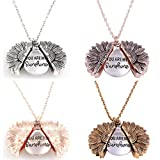 Holibanna 2pcs You are My Sunshine Necklace Sunflower Flower Alloy Engraved Necklace Clavicle Chain Pendant Elegant Choker for Women