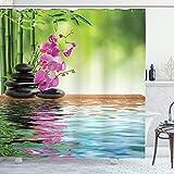 ABAKUHAUS Spa Duschvorhang, Tropische Orchideenblüte, Digital auf Stoff Bedruckt inkl.12 Haken Farbfest Wasser Bakterie Resistent, 175 x 180 cm, Fern Green Fuchsia
