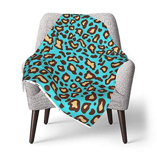 Hdadwy Manta para niños, manta retro turquesa con estampado de leopardo para bebé, manta suave de felpa para niños y niñas, manta de recepción de 30 x 40 pulgadas