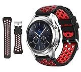kytuwy Armband mit Galaxy Watch 3 45mm - Gear s3 Armband, Smartwatch Ersatzarmbänder 22mm, Silikon Sportarmband für Galaxy Watch 46mm /Gear S3 Classic/Gear S3 Frontier Smartwatch(Schwarz&Rot)