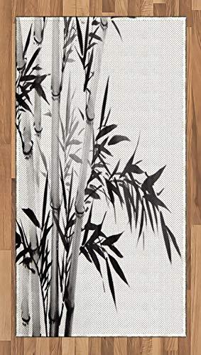 ABAKUHAUS Bambú Alfombra de Área, Bambú Imagen Tradicional Estilo Caligrafía China Tema...