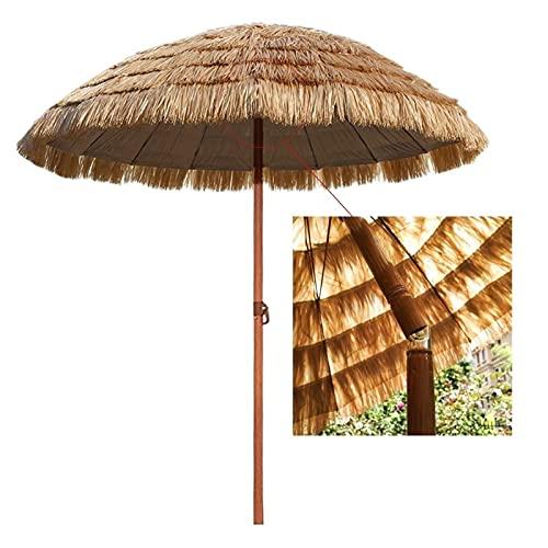 CRMY Paraguas De Paja Al Aire Libre De 2,4 M / 7,87 Pies Sin Soporte, Paraguas De Paja De Ángulo De Inclinación Ajustable, Paraguas De Rafia, Decoración De Jardín, Patio, Playa